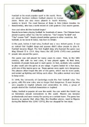 English Worksheet: The History of Football - Reading Comprehension