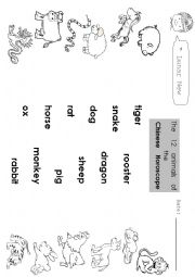 English Worksheet: The Chinese Zodiac animals