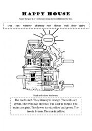 English Worksheet: Parts of the house - HAPPY HOUSE