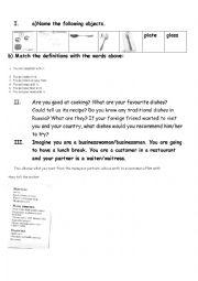 english worksheets kitchen utensils cooking ordering in a restaurant. Black Bedroom Furniture Sets. Home Design Ideas