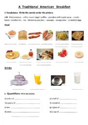 English Worksheet: American Breakfast vocabulary worksheet