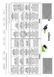 English Worksheet: Heroes and Villains Contract
