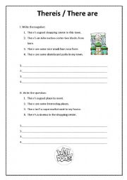 English Worksheet: There is There are affirmative/negative/questions