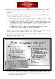 English Worksheet: Valentine´s Day Speaking Worksheet