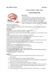 Unit 3/ lesson 6:Brain Drain