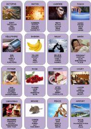 English Worksheet: Taboo Cards - 1