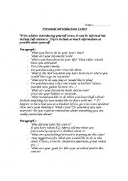 English Worksheet: Personal Introduction Letter