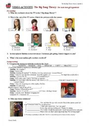 English Worksheet: TV series: Big Bang Theory; chapter:The bath item gift hipothesis (season 2, episode 11)