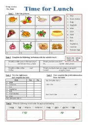 English Worksheet: Time for Lunch / Group session