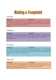 English Worksheet: Making a Complaint; Flashcards for Role Play