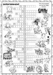 English Worksheet: Entertainment Crossword Puzzle