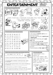 English Worksheet: Entertainment Vocabulary Exercises