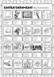 English Worksheet: Entertainment Multiple Choice
