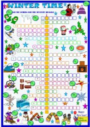 English Worksheet: Winter, crossword puzzle