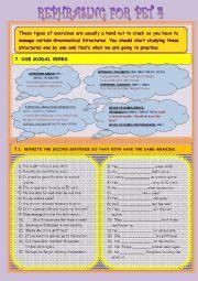 English Worksheet: REPHRASING FOR PET N� 4