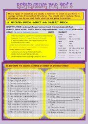English Worksheet: REPHRASING FOR PET N� 5