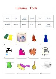 Household Chores and Cleaning Supplies 1 Page BW Worksheet by ...