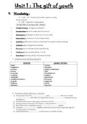 English Worksheet: Gift of youth