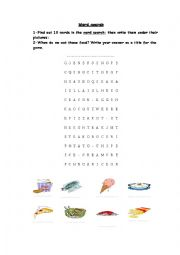 English Worksheet: time for lunch wordsearch game