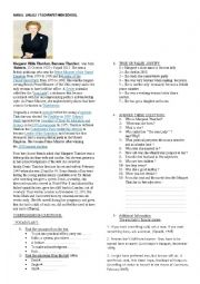 English Worksheet: THE IRON LADY - TEXT WITH COMPREHENSION QUESTIONS