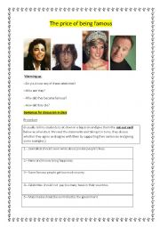 English Worksheet: The price of being famous