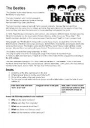 English Worksheet: The Beatles- grammar and reading practice