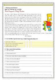 English Worksheet: Bart Simpson Daily Routine