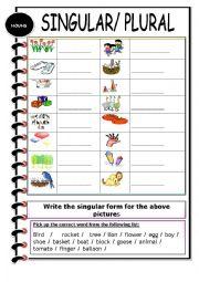 English Worksheet: Singular / Plural