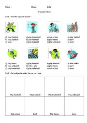 English Worksheet: talents activities I can I can�t