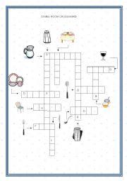 English Worksheet: Dining room crossword