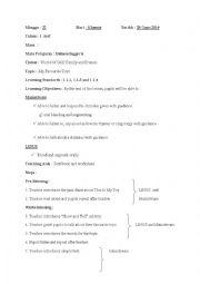 English Worksheet: sample of lesson plan