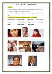 English Worksheet: Human Rights Defenders