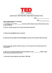 English Worksheet: TED Talk Handout about Food (Jamie Oliver - Teach Every Child about Food)
