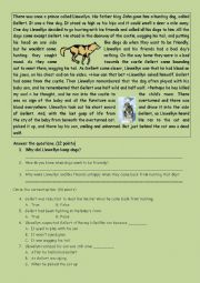 English Worksheet: reading comprehension A2