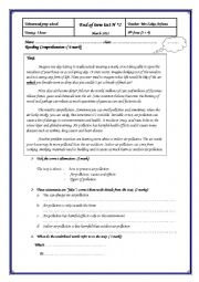 English Worksheet: full term test n2 9th form