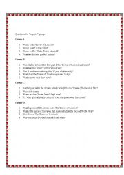 English Worksheet: The Tower of London-part 4