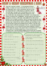 English Worksheet: What a great Christmas I had! Reading comprehension