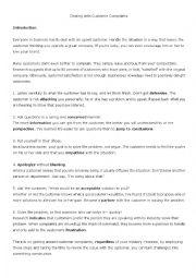English Worksheet: Customer Complaints