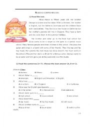 English Worksheet: reading and writing