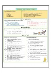 English Worksheet: Reported  speech (Questions)