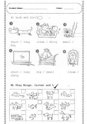 English Worksheet: ANIMALS / Adjectives (Look and circle and BINGO)