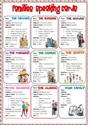 English Worksheet: Families Speaking Cards
