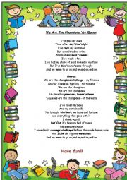 English Worksheet: We Are The Champions y Queen