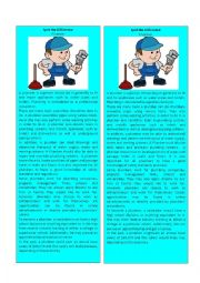 English Worksheet: Information Gap Plumber 1/3 ( Spot the Difference)