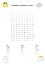 English Worksheet: Weather , months and seasons wordsearch