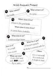 English worksheet: Wild Animals Project