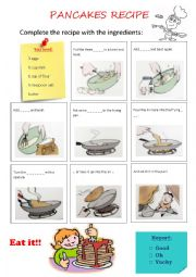 English Worksheet: Pancakes Recipe