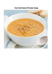 English Worksheet: Curried Sweet Potato Soup - a cooking verbs gap fill