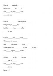 English worksheet: Close to you lyrics fill in