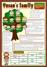 English Worksheet: Susan�s family - reading
